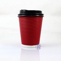 12oz瓦楞(紅)不燙杯/咖啡杯(25入/串)