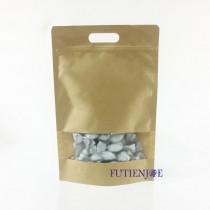 進口-牛皮開窗 手提霧面夾鏈立袋 (210*320+40mm)(50入/包)
