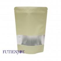 進口-單色鍍鋁開窗夾鏈立袋(米杏)(150*220+40mm)(50入/包)