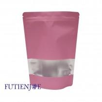 【年末特惠】進口-單色鍍鋁開窗夾鏈立袋(蜜粉)(120*200+40mm)(50入/包)