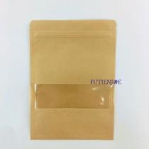 進口-牛皮開窗 三面封夾鍊平袋(140*200mm)(50入/包)