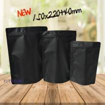 進口-全黑電鍍夾鏈立袋(150*220+40mm)(50入/包)