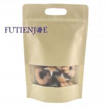 台製-牛皮開窗 手提霧面夾鏈立袋 (180*280+40mm)(50入/包)
