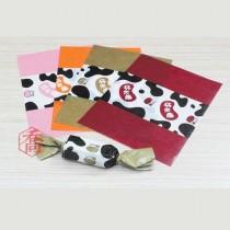 牛軋糖紙-(厚)彩邊QQ牛(桔) (500張/包)