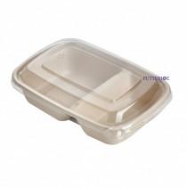 【整箱預訂】CR-900-2 植物纖維方型餐盒(22.3*16*4.75cm)(分隔餐盒)