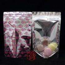進口-六兩 桃紅花夾鏈立袋 (150*235+45mm)(50入/包)