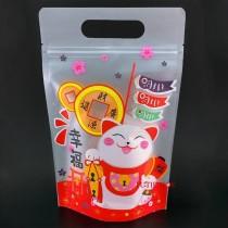 台製-FJ-861幸福招財貓(霧面) 手提夾鏈立袋 (180*280+40mm)(50入/包)