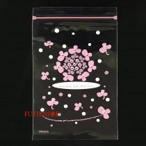 6號PP印刷夾鏈袋-幸運草(粉)(12*17cm)