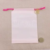 15*20+4*12cm粉白束口折角袋